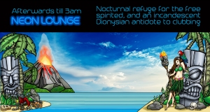 neon lounge with island backdrop